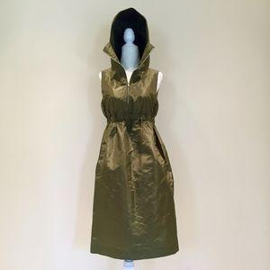 Michael Kors silk shimmer olive hoodie dress